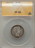 Barber Quarters: , 1893-S 25C VF25 ANACS. NGC Census: (2/82). PCGS Population: (5/204). Mintage 1,454,535. ...