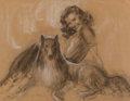 Mainstream Illustration, Rolf Armstrong (American, 1889-1960). It's Up to You preliminary. Charcoal on paper. 20.25 x 27.25 in. (image). Signed a...