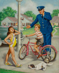 Mainstream Illustration, Edward D'Ancona (American, 20th Century). Miss Me, safetycalendar illustration, 1960. Oil on canvas. 25 x 20 in..Signe...
