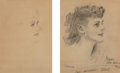 Mainstream Illustration, James Montgomery Flagg (American, 1877-1960). Henryka, two profile sketches, 1943. Pencil on paper. 14.25 x 12 in.; 14.2...