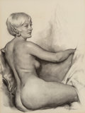 Mainstream Illustration, Gil Elvgren (American, 1914-1980). Marylou Moon, circa 1976. Charcoal on paper. 21 x 18 in.. Signed lower right. ...
