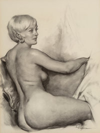 Gil Elvgren (American, 1914-1980) Marylou Moon, circa 1976 Charcoal on paper 21 x 18 in. Signe