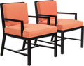 Furniture , Attributed to Tommi Parzinger (German, 1903-1981). Pair ofArmchairs, circa 1955. Lacquered wood, upholstery. 30-1/2 x2... (Total: 2 Items)
