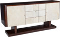 Furniture , French School (20th Century). Credenza, circa 1930. Mahogany, parchment. 39 x 78-1/2 x 21-3/8 inches (99.1 x 199.4 x 54....