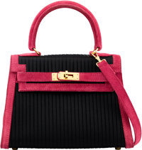 Hermès 20cm Black Silk & Ruby Suede Mini Kelly Pleats Bag with Gold Hardware C Square, 1999 Condi