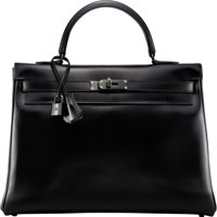 Hermès Limited Edition 35cm So Black Calf Box Leather Retourne Kelly Bag with PVD Hardware N Square, 2010<...