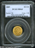 Liberty Quarter Eagles: , 1889 $2 1/2 MS63 PCGS....