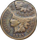 Errors, 1887 1C Indian Cent--Double Struck, Second Strike 60% Off Center--Good 6 NGC....