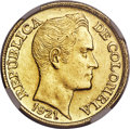 Colombia, Colombia: Republic gold 5 Pesos 1921-A MS62 NGC,...