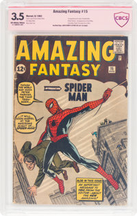Amazing Fantasy #15 Jack Kirby and Stan Lee Verified Signature (Marvel, 1962) CBCS VG- 3.5 Off-white to white pages