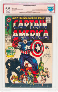 Captain America #100 Jack Kirby and Stan Lee Verified Signatures (Marvel, 1968) CBCS FN- 5.5 Cream to off-white pages...