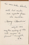 Autographs:Celebrities, Harry Houdini Signed Copy of The Unmasking of Robert-Houdin....