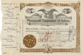 Autographs:Inventors, Thomas Edison Stock Certificate Signed...