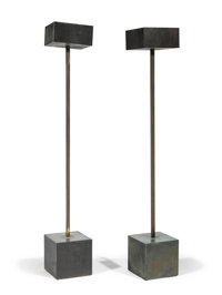 Robert Graham (American, 1938-2008) Pair of Unique Standing Lamps, circa 1983 Patinated metal 80 ... (Total: 2)