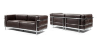 Le Corbusier (Swiss, 1887-1965) Pair of LC3 Loveseats, designed 1928, of recent production, Cassina