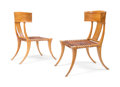 Furniture , Terence Harold Robsjohn-Gibbings (British, 1905-1976). Pair of Klismos Chairs, circa 1960, Saridis of Athens. Walnut, le... (Total: 2 Items)