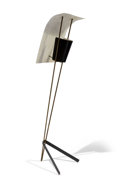 Decorative Arts, French, Pierre Guariche (French, 1926-1995). Kite Floor Lamp, 1952,Pierre Disderot. Brass, perforated metal, sheet metal, steel...