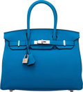 Luxury Accessories:Bags, Hermès Limited Edition 30cm Blue Zanzibar & Malachite Togo Leather Verso Birkin Bag with Palladium Hardware. A, 2017. ...