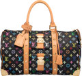 """Luxury Accessories:Bags, Louis Vuitton Black Monogram Multicolore Coated Canvas Keepall 45 Bag. Condition: 2. 18"""" Width x 11"""" Height x 9"""" Depth..."""