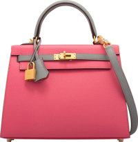 Hermès Special Order Horseshoe 25cm Rose Azalee & Gris Mouette Epsom Leather Sellier Kelly Bag with Brush...