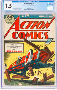 Action Comics #9 (DC, 1939) CGC FR/GD 1.5 Off-white to white pages