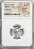 Ancients:Roman Imperial, Ancients: Tiberius (AD 14-37). AR denarius (19mm, 3.75 gm, 10h).NGC Choice VF 3/5 - 3/5....