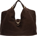 Luxury Accessories:Bags, Gucci Dark Brown Nubuck Large Stirrup BagCo...