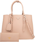 Luxury Accessories:Bags, Prada Set of Two: Beige Saffiano Leather Large Double Bag ...