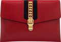 Luxury Accessories:Bags, Gucci Red Leather Large Envelope Clutch Cond...