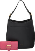 Luxury Accessories:Bags, Burberry Set of Two: Black Leather Elmstone Bag & Pink Lea...