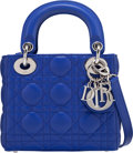 """Luxury Accessories:Bags, Christian Dior Blue Cannage Quilted Lambskin Leather Mini Lady Dior Bag. Condition: 2. 6.5"""" Width x 6"""" Height x 3"""" Dep..."""