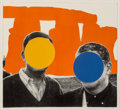 Fine Art - Work on Paper:Print, John Baldessari (b. 1931). Orange, from Stonehenge (WithTwo Persons), 2005. Mixografia relief in colors on handmade...