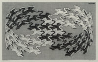 M. C. Escher (1898-1972) Swans, 1956 Wood engraving on thin Japanese paper 7-7/8 x 12-5/8 inches