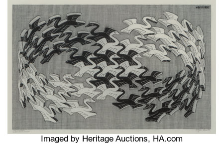 M. C. Escher (1898-1972)Swans, 1956Wood engraving on thin Japanese paper7-7/8 x 12-5/8 inches (20 x 32.1 cm) (imag...