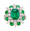 Estate Jewelry:Rings, Colombian Emerald, Diamond, Platinum Ring. ...