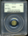 California Fractional Gold: , 1871 50C Liberty Octagonal 50 Cents, BG-924, R.3, MS62 PCGS....