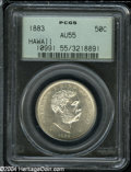 Coins of Hawaii: , 1883 50C Hawaii Half Dollar AU55 PCGS....