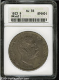 Coins of Hawaii: , 1883 S$1 Hawaii Dollar AU58 ANACS....
