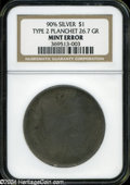Errors: , 90% Silver Dollar Type Two Planchet Ungraded NGC....