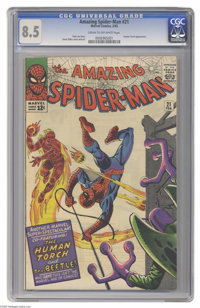 The Amazing Spider-Man #21 (Marvel, 1965) CGC VF+ 8.5 Cream to off-white pages. Human Torch crossover. Second appearance...