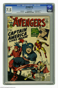 Avengers #4 (Marvel, 1964) CGC VF- 7.5 Off-white pages. Marvel started this series with a bang, collecting several of th...