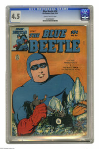 """Blue Beetle #34 (Fox Features Syndicate, 1944) CGC VG+ 4.5 Slightly brittle pages. """"The Threat From Saturn"""" se..."""