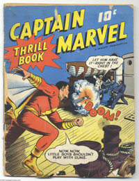 "Captain Marvel Thrill Book #1 (Fawcett, 1941) Condition: FR. This oversized comic is a Gerber ""8"" and is terme..."