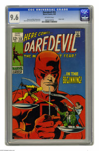 Daredevil #53 (Marvel, 1969) CGC NM+ 9.6 Off-white pages. Origin retold. Last 12¢ issue. Gene Colan cover and art...