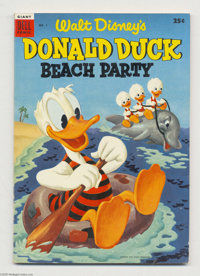 Dell Giant Comics Donald Duck Beach Party #1 (Dell, 1954) Condition: VF. Has an Uncle Scrooge story (not by Barks) that...