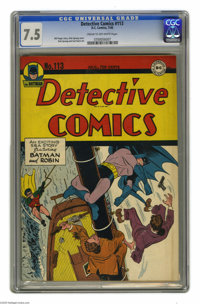 Detective Comics #113 (DC, 1946) CGC VF- 7.5 Cream to off-white pages. Dick Sprang cover. Sprang and Curt Swan art. Over...