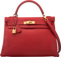 Luxury Accessories:Bags, Hermès 32cm Rouge Casaque Clemence Leather Retourne Kelly Bag with Gold Hardware. C Square, 1999. Condition: 2. 12...