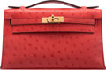"Luxury Accessories:Bags, Hermès Rouge Tomate Ostrich Kelly Pochette with Gold Hardware. A, 2017. Condition: 1. 8.5"" Width x 5"" Height x 3"" ..."