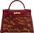 Luxury Accessories:Bags, Hermès 32cm Customized Rouge Vif Chevre Leather & Toile Retourne Kelly Bag with Gold Hardware. R Circle, 1988. Conditi...