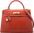 """Luxury Accessories:Bags, Hermès 32cm Brique Calf Box Leather Sellier Kelly Bag with Gold Hardware. C Square, 1999. Condition: 2. 12.5"""" Widt..."""